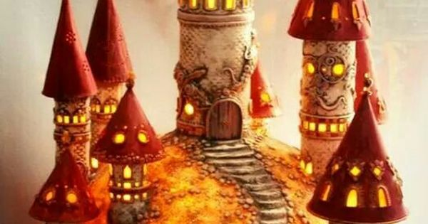 Fairy Castle Polymer Clay Over A Gourd Manualidades