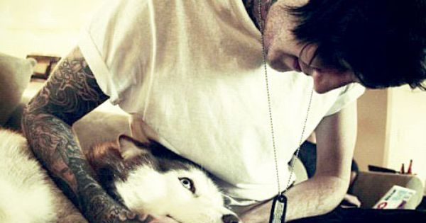 Austin Carlile, tattoos, dog, look at these two ohmahgosh