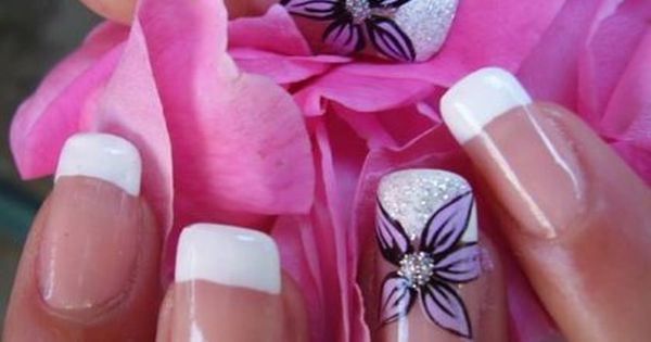French Manicure With Purple Flower Designs 2014 Nail Art Ideas For More Findings Pls Visit Www Pinterest C French Manicure Designs Manicure Manicures Designs