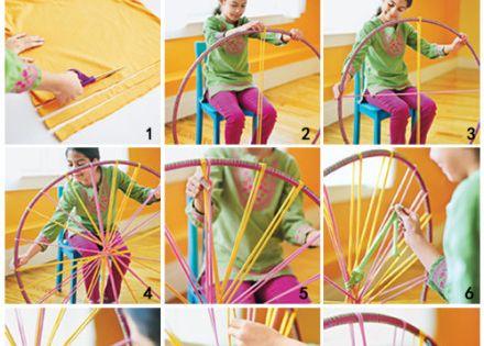 366973069606838316 Rainy Day Kid Craft create a rug using hoopla Hoop, old