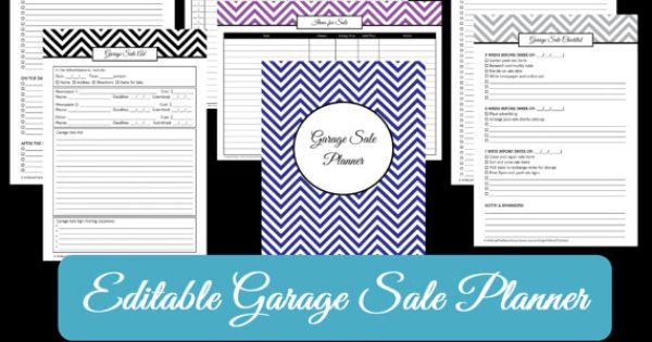 black editable garage sale planner yard sale organizer