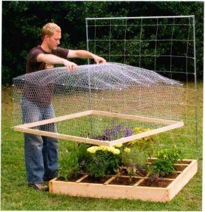 Abdeckung Fur Das Hochbeet Um Vogel Und Tiere Fernzuhalten Besser Als Plastik Erhohte Beete Diy Garten Gartenliege