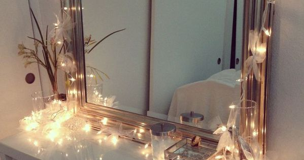 Vanity With Christmas Lights : Vanity setup! Ikea vanity with Christmas lights, decorated in ribbons! Do this for Chest of ...