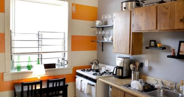 Look Orange Stripe Wall In The Kitchen Spotlight Accent Walls And Grey