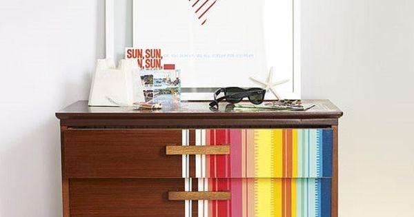 Painted dresser stripes muebles pinterest muebles - Recibidores originales reciclados ...