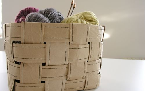 Recycled paper sewing basket. Now I know what to do with the