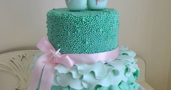 Ballet birthday cake in 'Under the Sea' aqua. With sugar pearls and