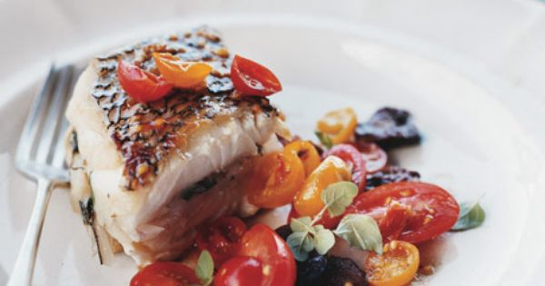 roasted black sea bass w/ tomato & olive salad! I LOVE SEABASS