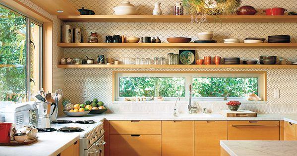 kitchen idea- kitchen shelves - kitchen open windows