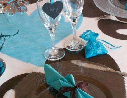 de Mariage Bleu Turquoise Marron Chocolat  Décoration de mariage ...