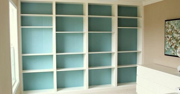 Ikea hack built in billy bookcases turquoise offices for Ikea blue billy bookcase