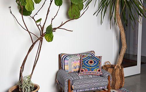 ausgefallene muster und gro e zimmerpflanzen erg nzen sich. Black Bedroom Furniture Sets. Home Design Ideas