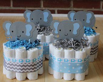 Mini 2 Tier Elephant Diaper Cake Blue Gray Elephant Baby Shower