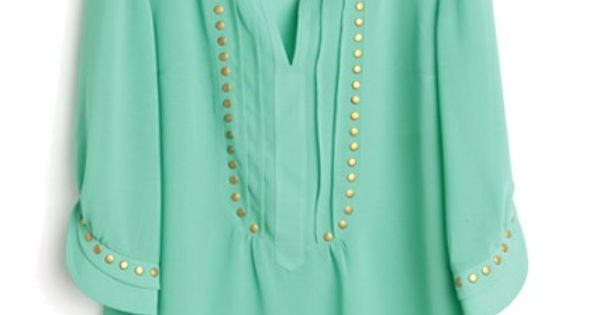 Green V Neck Half Sleeve Studded Chiffon Shirt.
