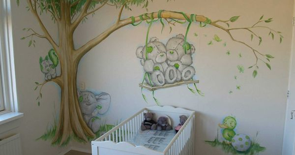 Babykamer muurschildering in kleur wandschilderingen pinterest babykamer kinderkamer en - Kleur muur slaapkamer kind ...