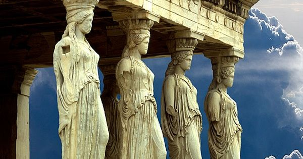 Porch of the Caryatids, Parthenon, Athens, Greece Against the Blue Sky ♥
