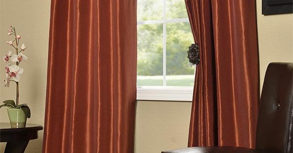 Burnt Orange Vintage Textured Faux Dupioni Silk Curtains