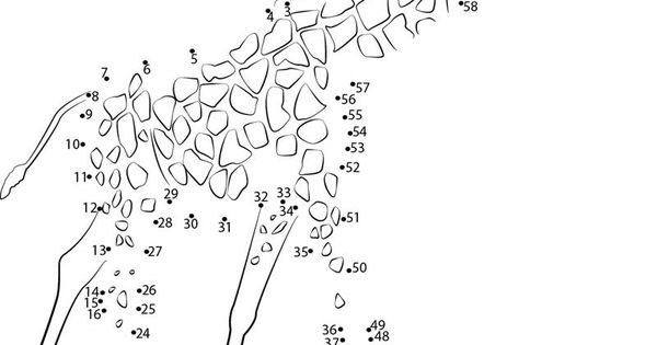 Connect The Dots Big Animal Giraffe Worksheet, Dot To Dots
