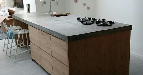 Ikea Keuken Met Eiken Frontjes En Beton Look Werkblad