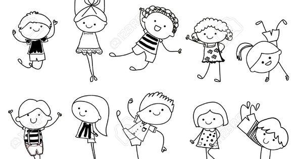 Croquis dessin groupe d 39 enfants clip art libres de droits vecteurs et illustration image - Dessin groupe d enfants ...