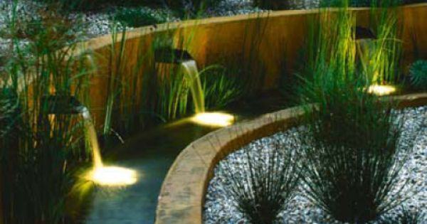Water Moving Water Features Such As Cascades Are Easier To Light Than Static Pools As The Surface Disturbance Water Features Garden Lighting Water Lighting