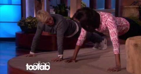 Push-ups: Michelle Obama v Ellen DeGeneres. Totally awesome. At least 25 pushups