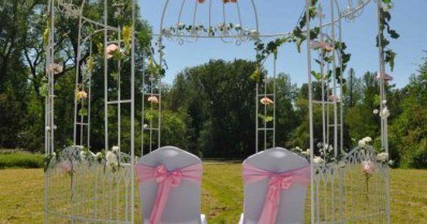 Deze schitterende hoogwaardig massief smeedijzeren witte trouwprieel of prieel met kroon is zeer - Massief decoratief ...