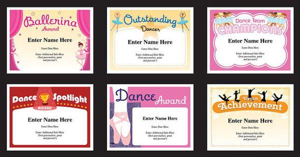 Dance Certificate Pack Dancing Awards Dance Team Printables