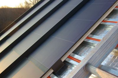 Thin Film Pv Solar Laminates Metal Roof Incorporating Solar Energy Collection And Solar Water Heating Metal Roof Solar Roof Standing Seam Metal Roof