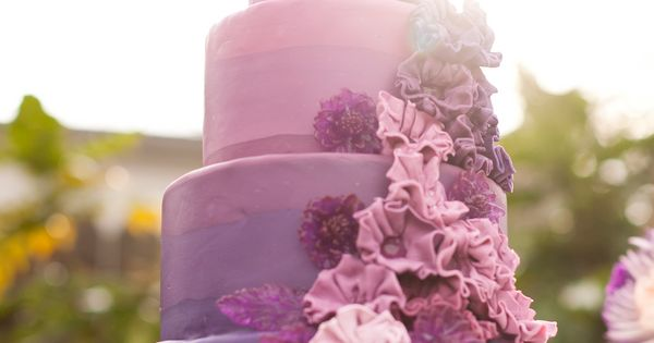 Purple ombre cake by ACaketoRemember.com shot by StephanieYoncePho...