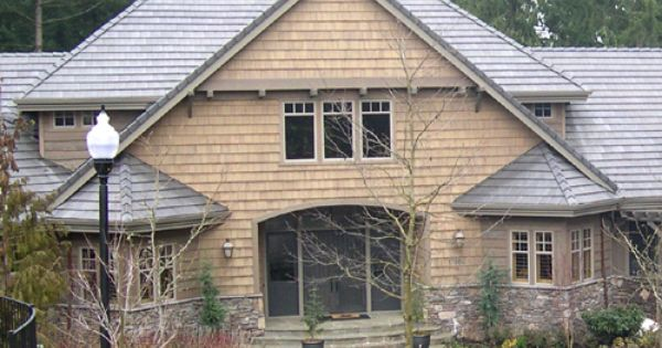 Black And Gray Exterior House In Lakeside Teal Shingles Prestained Semi Transparent Dark Gray Tight Knot Cedar