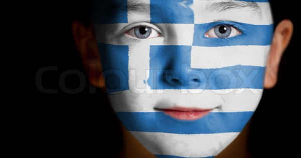 Portrait Of A Child With A Painted Greek Flag Stock Photo Greek