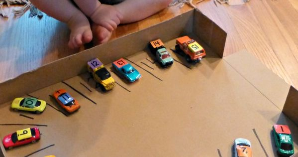 car parking numbers matching; toddler game turns into learning