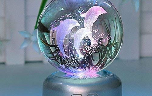 Axayinc Dolphin 3d Crystal Ball Led Night Light With Base Puzzle Dolphin Advanced Laser Engraving Ideal Present For Kid Dolphin Decor Crystal Figurines Decor