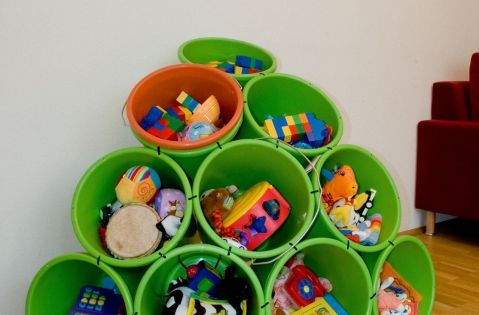 Buckets and Zip Ties--Great storage idea for a play room. Just drill