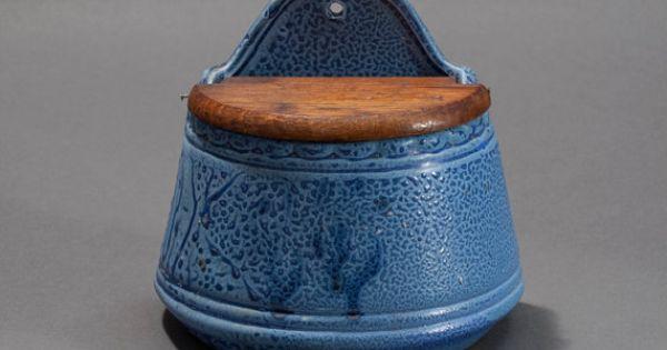 Vintage Blue Stoneware Salt Box Lidded Salt Cellar By
