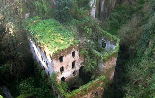 Sorrento Italy Abandoned Castle, built in 1866. Buildings being reclaimed by nature