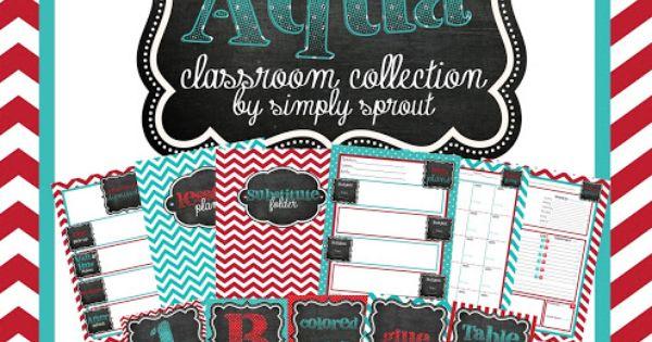 Classroom Design Kit ~ Organize your classroom with red aqua design