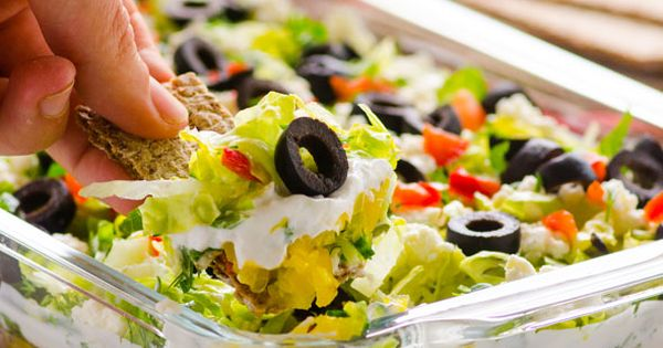 Greek Salad Layered Dip Recipe -- Fresh and crispy party dip that