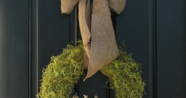 Pumpkin wreath for fall w/ moss & burlap bow: great idea for