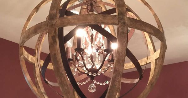 Large Round Wooden Orb Chandelier with Metal Orb Detail ...