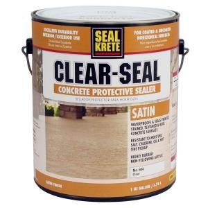 Seal Krete 1 Gal Satin Clear Seal Concrete Protective Sealer 604001 The Home Depot Concrete Painting Concrete Seal Concrete Floor