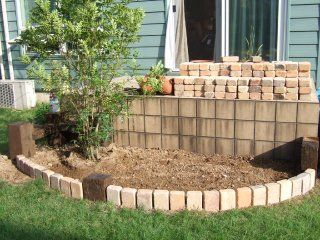 diy庭造り レンガと枕木の花壇 庭 ガーデンプラン 花壇