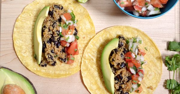 Quinoa Black Bean Tacos Recipe Main Dishes with quinoa, garlic, salt, chili