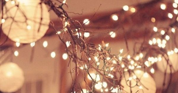 Mix paper lanterns with a twig garland and twinkle lights.. I'm in