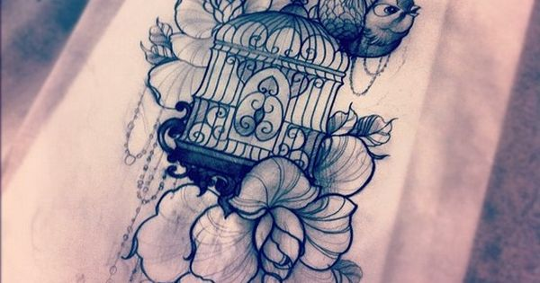 Bird cage and flower tattoo design