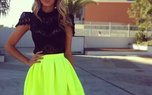neon yellow skirt with black lace top