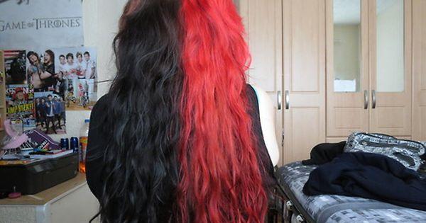 Pin By Kailey On Hair Ideas Split Dyed Hair Hair Color For Black Hair Half And Half Hair