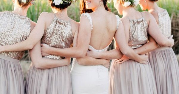 glittery bridesmaid dresses