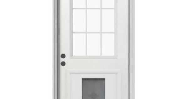 JELD-WEN 9 Lite Primed White Steel Entry Door With Large